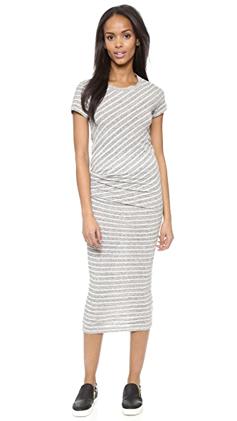 James Perse Stripe Tucked Tee Maxi Dress