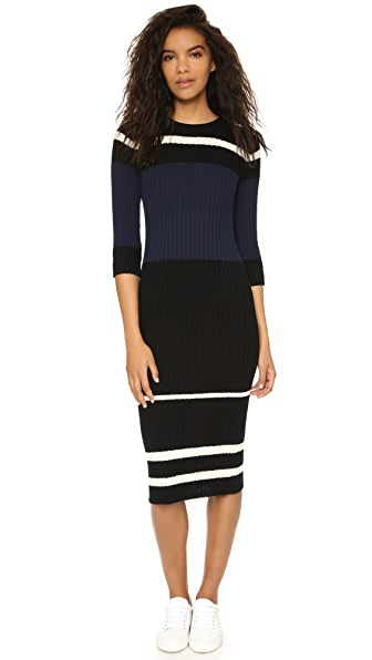 James Perse Knit Ribbed Striped Dress
