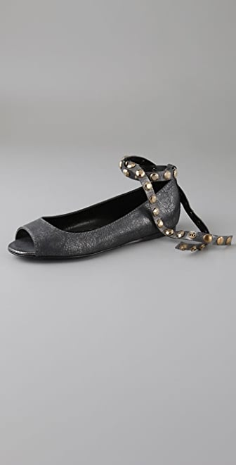 Juicy Couture Jam Studded Ankle Wrap Peep Toe Flats