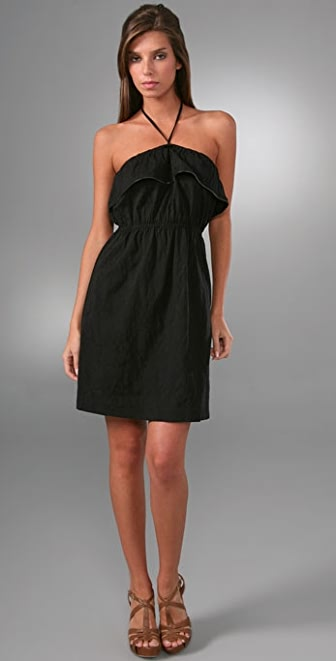 Juicy Couture Zipper Trimmed Ruffle Halter Dress