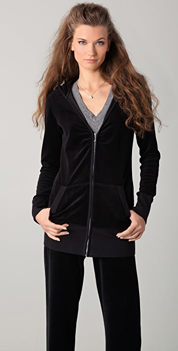 Juicy Couture Velour Long V Neck Hoodie