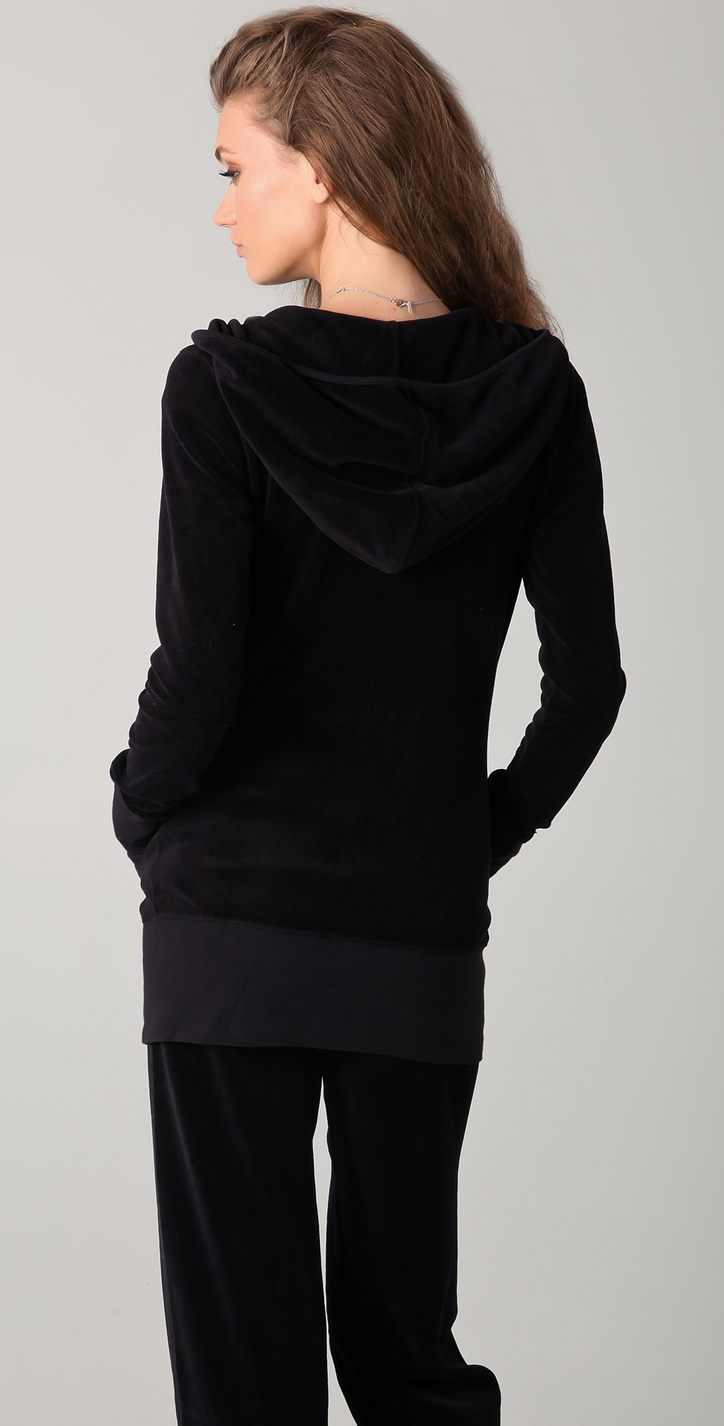 Juicy couture velour long v neck hoodie shopbop ombrellifo Image collections