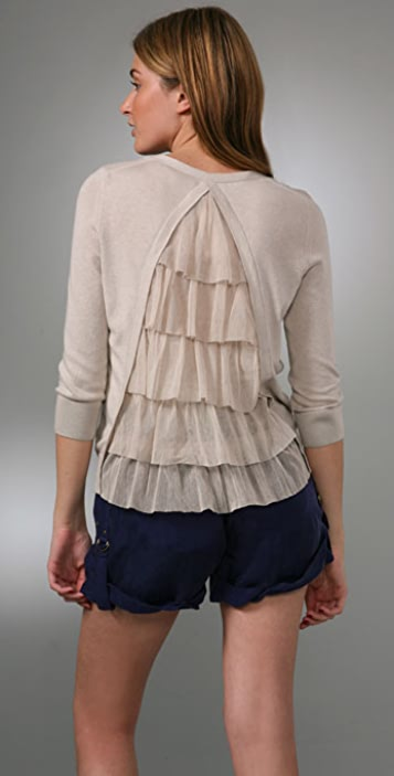 Juicy Couture 3/4 Sleeve Ruffle Cardigan Sweater