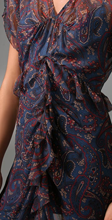 Juicy Couture Paisley Chiffon Ruffle Dress