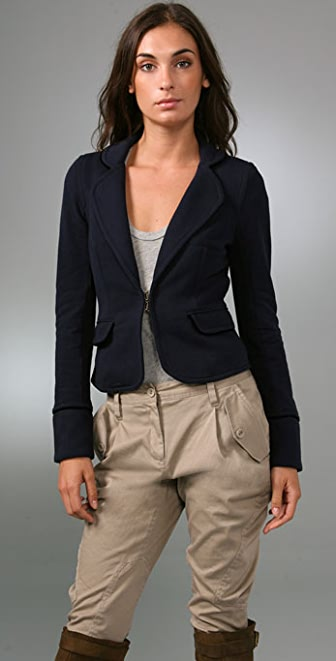 Juicy Couture Shrunken Blazer with Velvet Piping