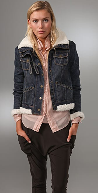 Juicy Couture Long Sleeve Sherpa Denim Bomber Jacket