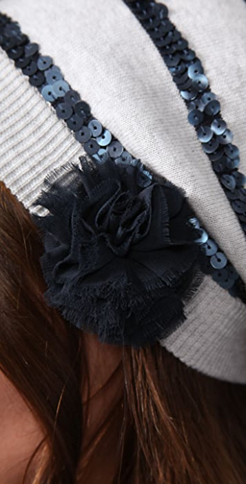 Juicy Couture Striped Sequin Beret with Chiffon Flower