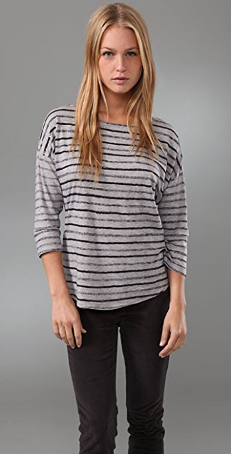 Juicy Couture 3/4 Sleeve Boat Neck Top with Sequin Stripes