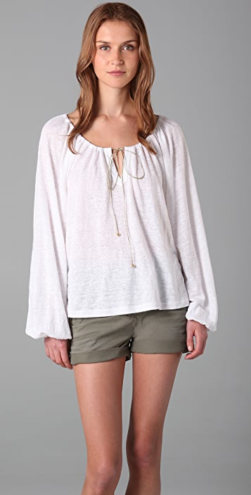 Juicy Couture Bohemian Top with Metallic Tie