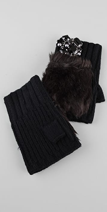 Juicy Couture Middlebury Fur Pom Hand Warmers