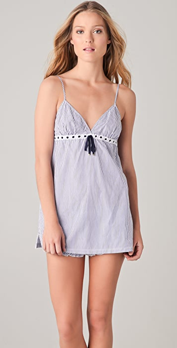 Juicy Couture Striped Nightie with Eyelet Trim