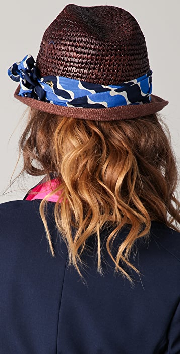 Juicy Couture Mixed Media Straw & Burlap Fedora