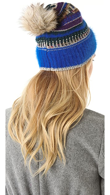 Juicy Couture Beanie with Faux Fur Pom Pom