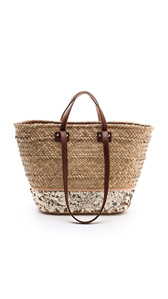 Juicy Couture Malibu Straw & Sequin Beach Tote