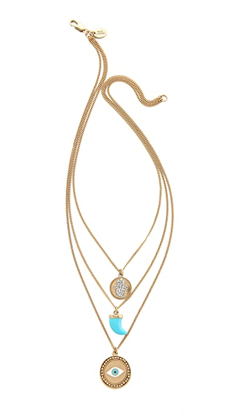 Juicy Couture Triple Chain Disc Necklace