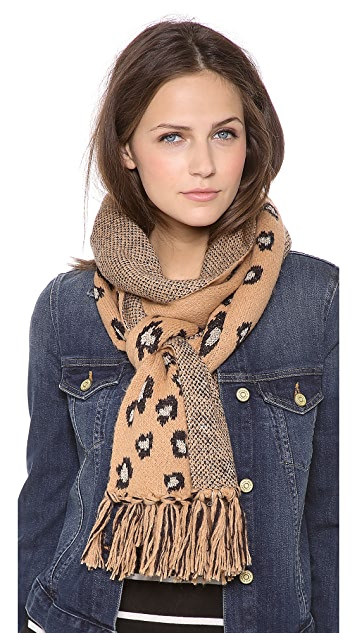 Juicy Couture Leopard Fringe Scarf