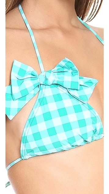 Juicy Couture Gingham Style Triangle Bikini Top