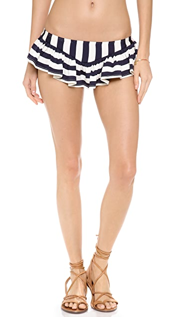 Juicy Couture Boho Stripe Skirted Bikini Bottoms