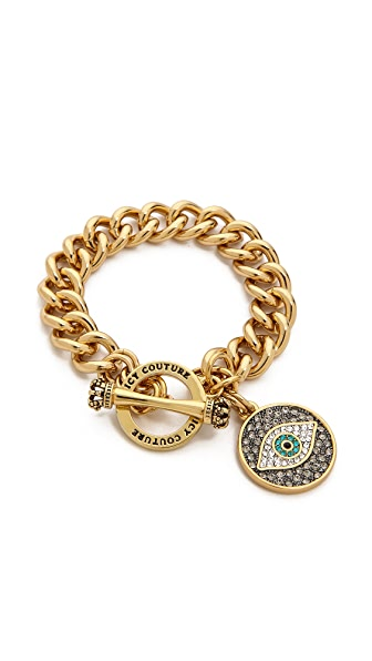 Juicy Couture Pave Evil Eye Charm Bracelet