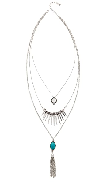 Jules Smith Triple Layer Spike Tassel Necklace