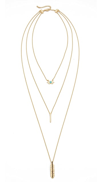 Jules Smith Long Layered Star Leaf Necklace