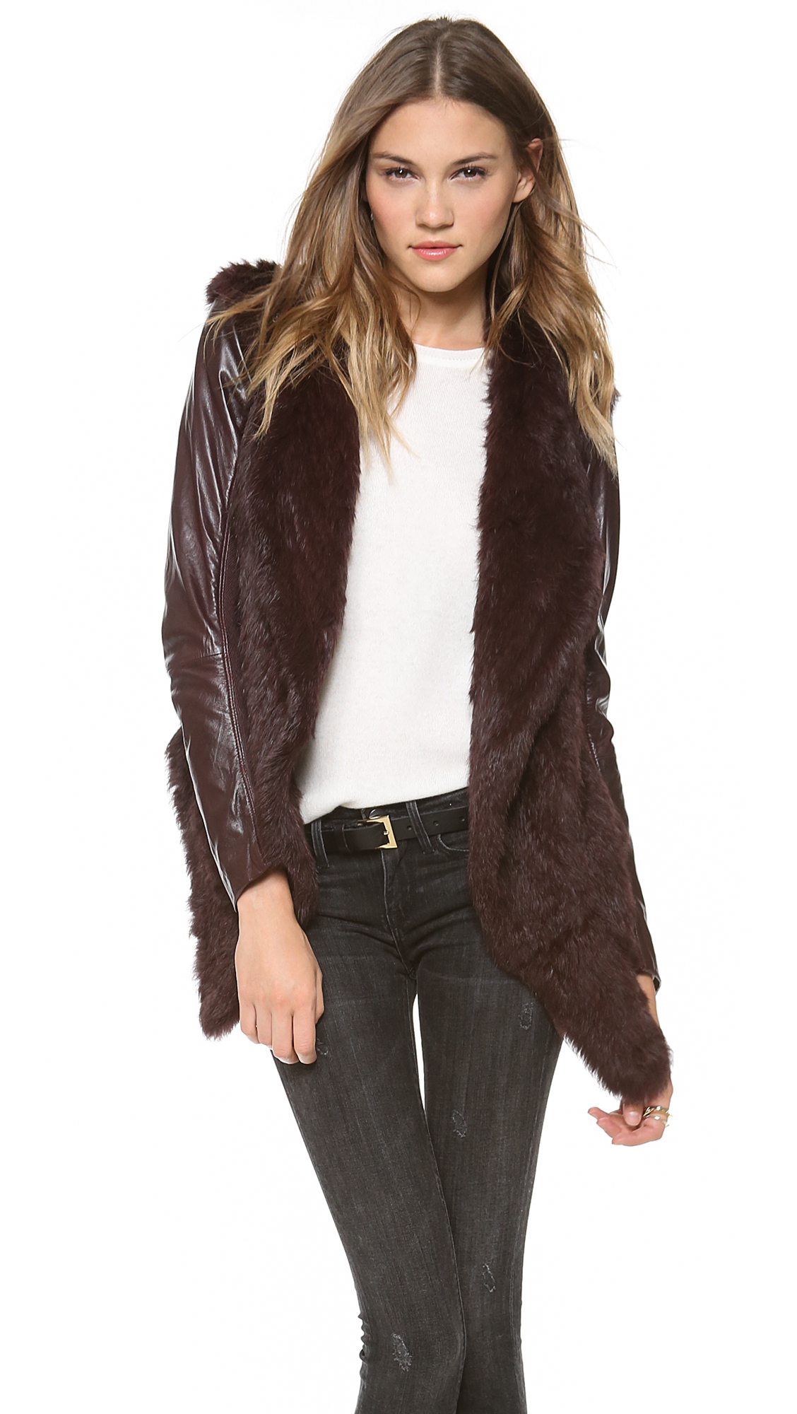 June Knit Fur Jacket with Leather Sleeves | SHOPBOP