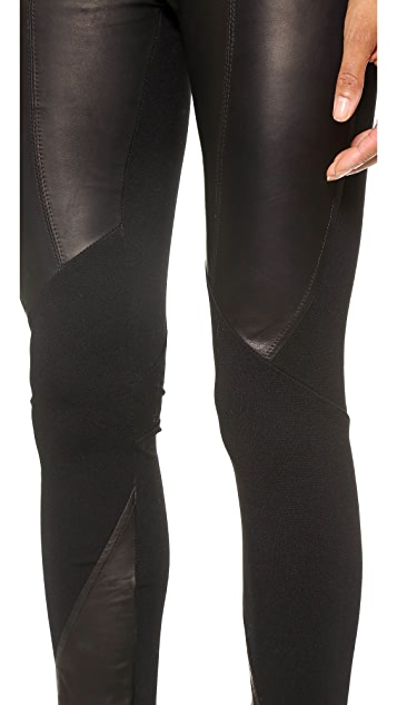 June Geo Leather Trim Leggings