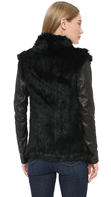 June Fur Jacket with Leather Sleeves