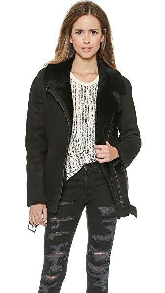 Just Female Chin Shearling Moto Jacket