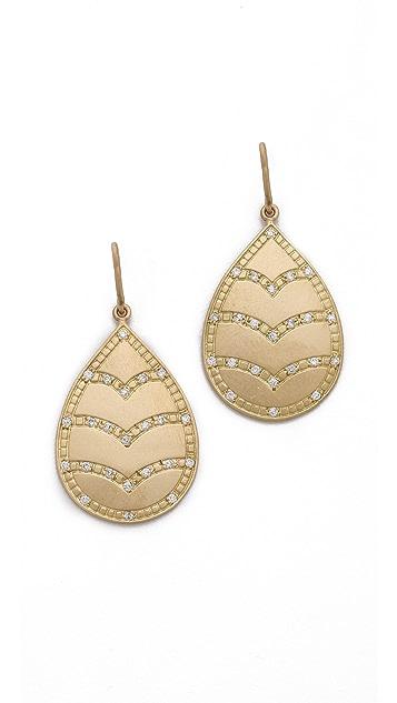 Jamie Wolf Engraved Leaf Diamond Earrings