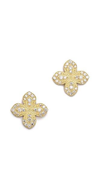 Jamie Wolf Pave Petal Stud Earrings