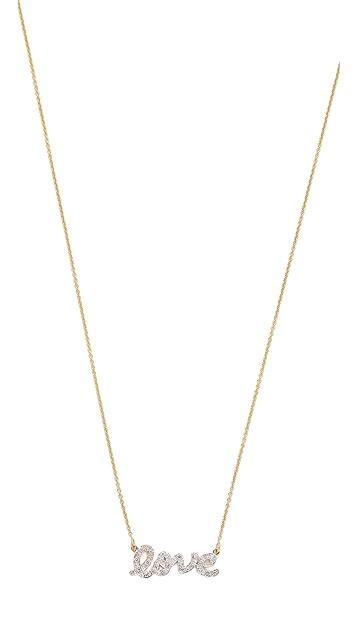 Kacey K Diamond Script Love Necklace