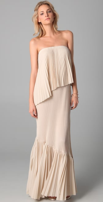 Kaelen Corina Strapless Pleated Dress