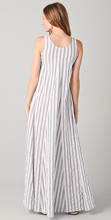 Kaelen Godet Striped Long Dress