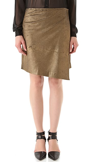 Kaelen Asymmetrical Wrap Leather Skirt