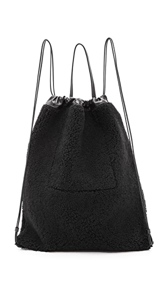 KARA Shearling Drawstring Backpack