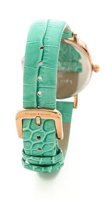 Kate Spade New York Rio Embossed Croc Metro Watch