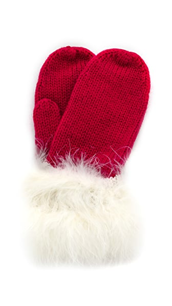 Kate Spade New York Santa Mittens With Marabou Pom