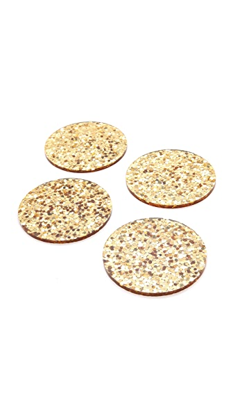 Kate Spade New York Happy Hour Glitter Coaster Set - Gold