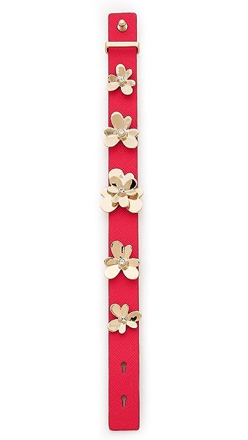 Kate Spade New York Pansy Blossoms Leather Bracelet