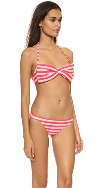 Kate Spade New York Georgica Beach Stripes Bow Bikini Top