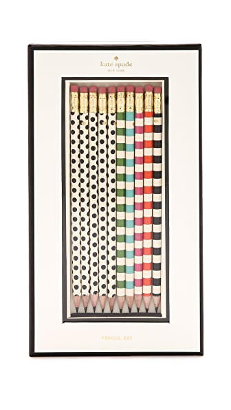 Kate Spade New York Dot the Is Pencil Set - White Multi