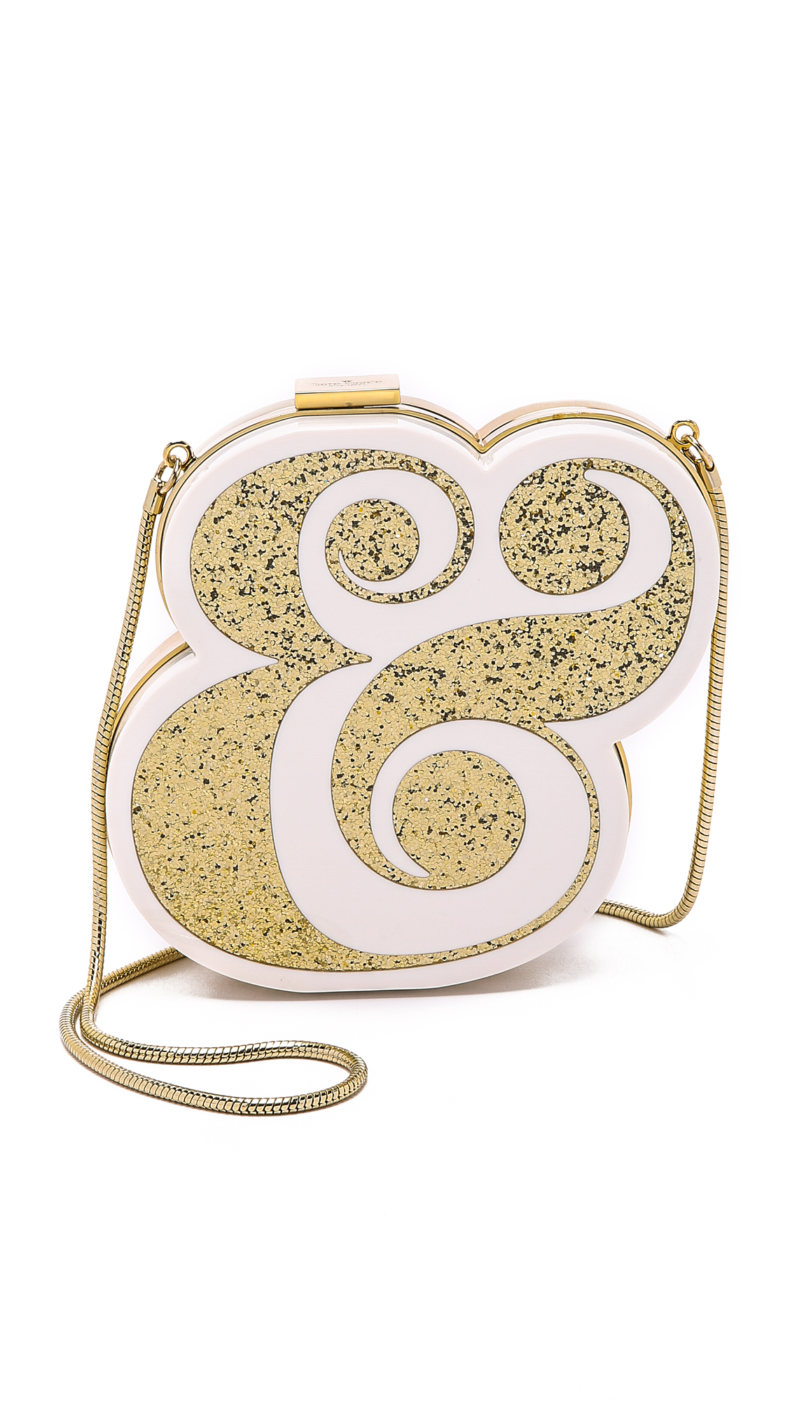 Glitter inlays add a glamorous touch to this glossy, modern Kate Spade New York clutch. The snake chain strap can be tucked inside. The lined interior is detailed with metallic jacquard wedding phrases. Hinged closure. Dust