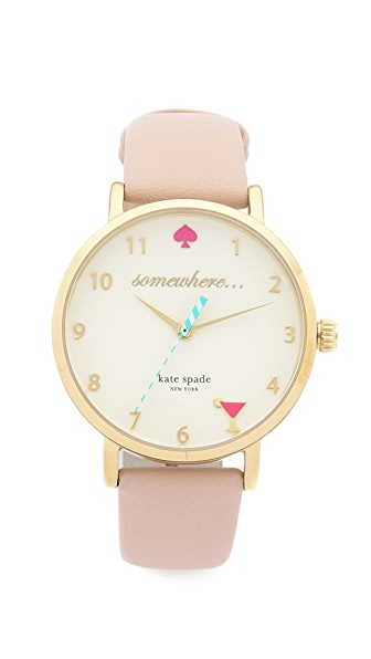 Kate Spade New York 5 O'Clock Metro Leather Watch at Shopbop