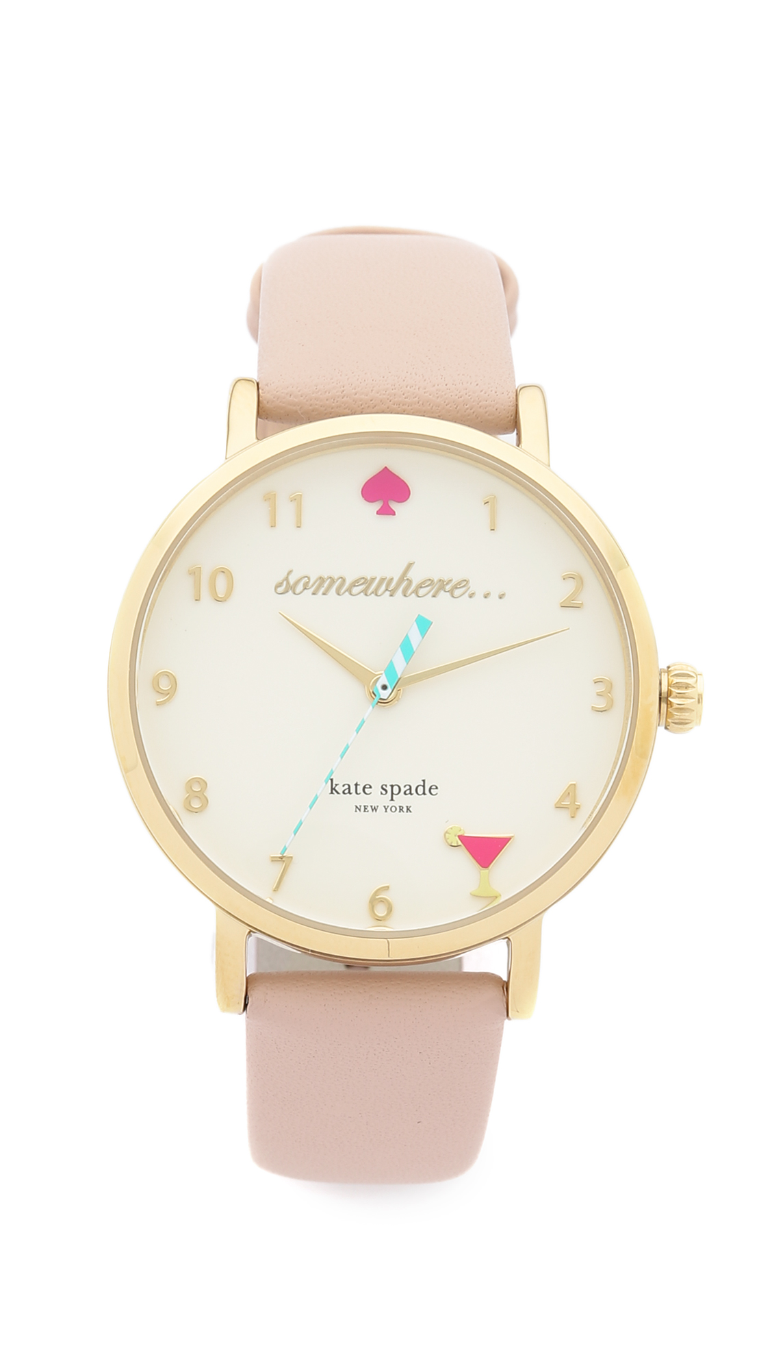 Kate Spade New York 5 O'Clock Metro Leather Watch - Vachetta/Gold at Shopbop