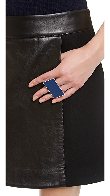 KAUFMANFRANCO Glazed Leather Front Skirt
