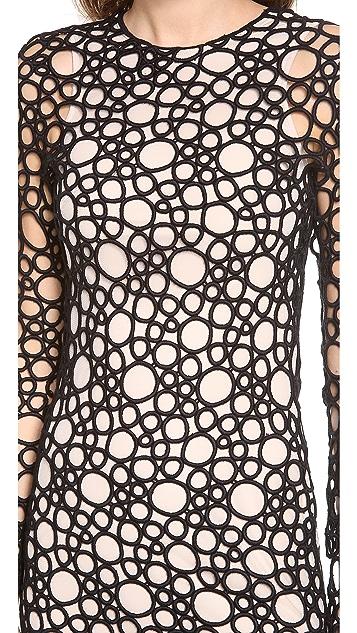 KAUFMANFRANCO Circular Tattoo Long Sleeve Dress