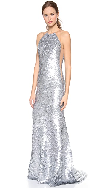 KAUFMANFRANCO Fish Scales Sleeveless Gown