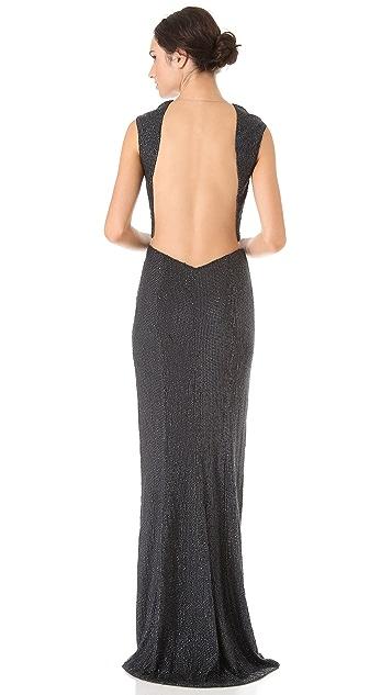 KAUFMANFRANCO Sequins Cap Sleeve Gown