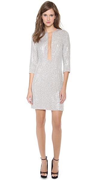KAUFMANFRANCO Sequins Long Sleeve Dress